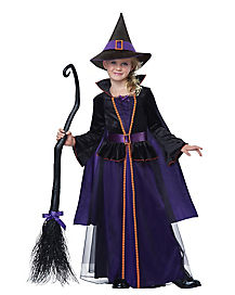 Kids Long Velvety Tulle Witch Costume