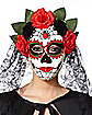 Flower Day of the Dead Mask with Veil
