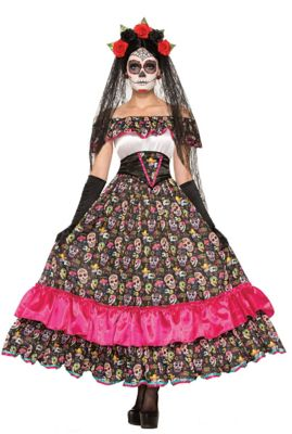 Steampunk Dresses | Women & Girl Costumes Adult Day of the Dead Spanish Lady Costume by Spirit Halloween $54.99 AT vintagedancer.com
