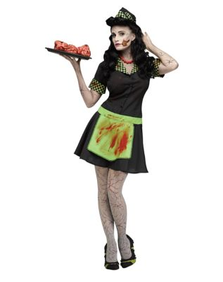 1950s Costumes- Poodle Skirts, Grease, Monroe, Pin Up, I Love Lucy Adult Zombie  Car Hop Costume by Spirit Halloween $39.99 AT vintagedancer.com