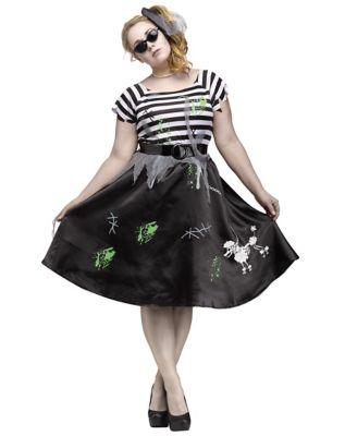 Poodle Skirts | Poodle Skirt Costumes, Patterns Adult Zombie Sock Hop Plus Size Costume by Spirit Halloween $44.99 AT vintagedancer.com