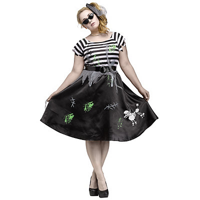 Pin Up Dresses | Pin Up Clothing Adult Zombie Sock Hop Plus Size Costume $44.99 AT vintagedancer.com