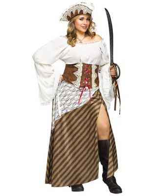 Steampunk Dresses | Women & Girl Costumes Adult Seven Seas Sweetie Pirate Plus Size Costume by Spirit Halloween $69.99 AT vintagedancer.com
