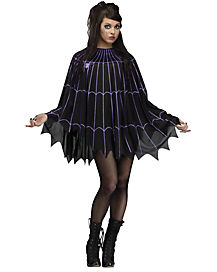 Spider Web Black and Purple Poncho