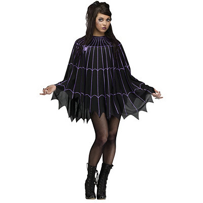 Vintage Retro Halloween Themed Clothing Spiderweb Black and Purple Poncho $19.99 AT vintagedancer.com
