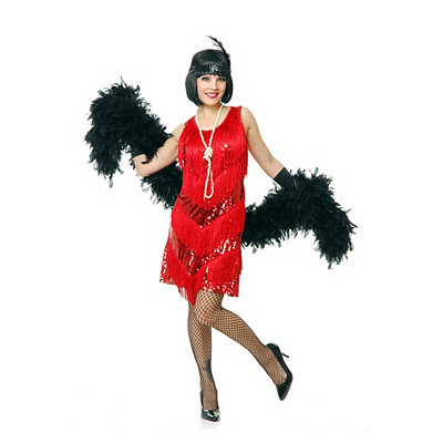 1920s Style Costumes Adult Red Four Tier Flapper Dress Costume $39.99 AT vintagedancer.com