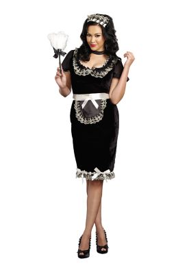 1950s Costumes- Poodle Skirts, Grease, Monroe, Pin Up, I Love Lucy Adult Keep It Clean Maid Plus Size Costume by Spirit Halloween $49.99 AT vintagedancer.com