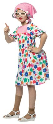 60s 70s Kids Costumes & Clothing Girls & Boys Kids Granny Dress Costume by Spirit Halloween $39.99 AT vintagedancer.com