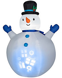 7 Ft Panoramic Projection Snowman Inflatable - Decoration