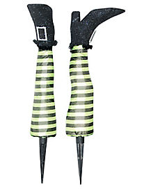 15 Inch Green Witch Leg Stakes - Decorations