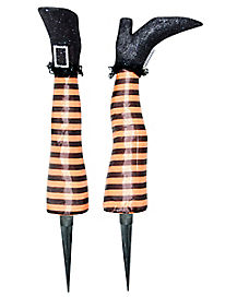 15 Inch Orange Witch Leg Stakes - Decorations