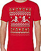 Adult Red Lady Ugly Christmas T Shirt