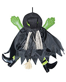 14 Inch Green Crashing Witch - Decorations