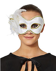 White Satin Feather Eyemask