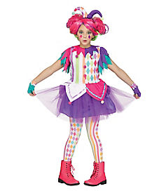 Kids Rainbow Harlequin Clown Costume