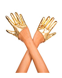 Metallic Gold Cropped Gloves