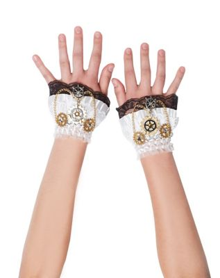 Vintage Style Gloves- Long, Wrist, Evening, Day, Leather, Lace Steampunk Wrist Gloves by Spirit Halloween $9.99 AT vintagedancer.com