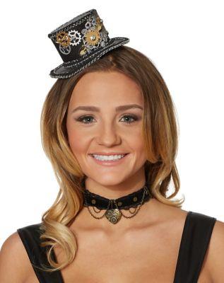 Steampunk Hats | Top Hats | Bowler Steampunk Mini Top Hat Fascinator by Spirit Halloween $16.99 AT vintagedancer.com