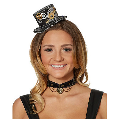 Steampunk Hats | Top Hats | Bowler Steampunk Mini Top Hat $16.99 AT vintagedancer.com