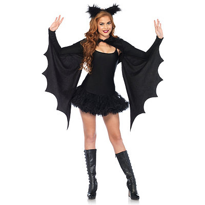 Vintage Retro Halloween Themed Clothing Bat Cape and Headband Kit $39.99 AT vintagedancer.com