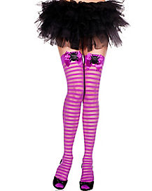 Purple Striped Spider Tights