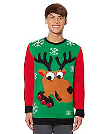 Adult Green Reindeer Ugly Christmas Sweater