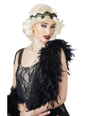 1920s Hairstyles History- Long Hair to Bobbed Hair Blonde 20s Glamour Wig by Spirit Halloween $24.99 AT vintagedancer.com