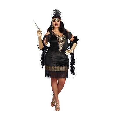 1920s Plus Size Dresses & Quality Costumes Adult Swanky Flapper Plus Size Costume $49.99 AT vintagedancer.com