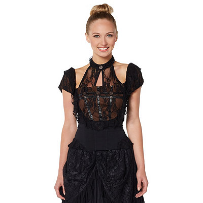 Steampunk Tops | Blouses, Shirts Black Lace Steampunk Shirt $34.99 AT vintagedancer.com