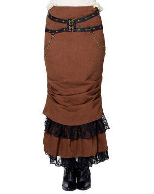 Steampunk Skirts   Bustle Skirts, Lace Skirts, Ruffle Skirts Lace Brown Steampunk  Skirt by Spirit Halloween $79.99 AT vintagedancer.com