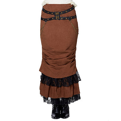 Victorian Steampunk Clothing & Costumes for Ladies Lace Brown Steampunk  Skirt $79.99 AT vintagedancer.com