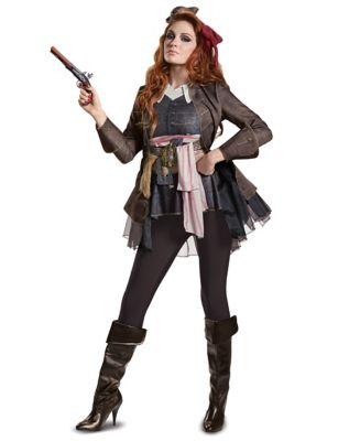 Steampunk Dresses | Women & Girl Costumes Adult Captain Jack Sparrow Costume - Pirates of the Caribbean by Spirit Halloween $69.99 AT vintagedancer.com