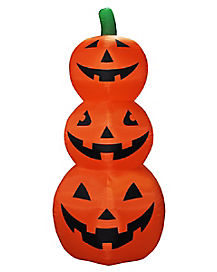 8 Ft Light Up Stacked Pumpkin Inflatable - Decorations