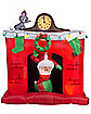 5.5 Ft Light Up Santa Fireplace Inflatable - Decorations