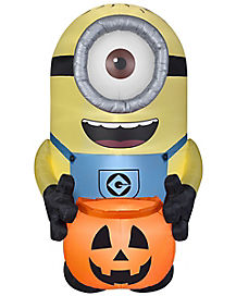 minion with pumpkin inflatable despicable me - Blow Up Halloween Decorations