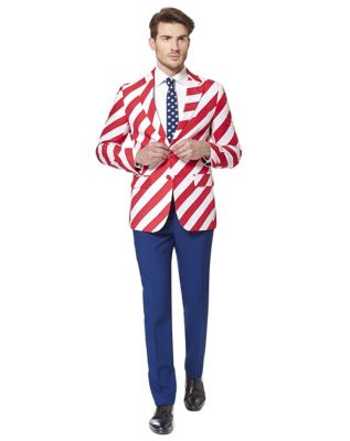 1950s Style Mens Suits | 50s Suits Adult United Stripes 4th of July Suit by Spirit Halloween $99.99 AT vintagedancer.com