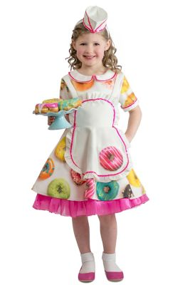 Kids 1950s Clothing & Costumes: Girls, Boys, Toddlers Kids Donut Waitress Costume - The Signature Collection by Spirit Halloween $59.99 AT vintagedancer.com