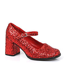 Kids Glitter Red Heel Shoes