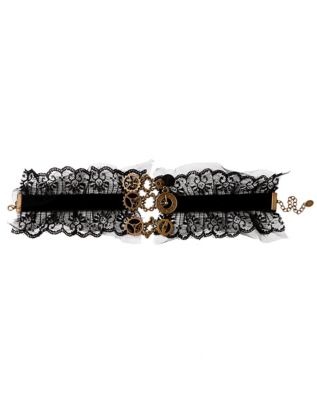 Steampunk Jewelry – Necklace, Earrings, Cuffs, Hair Clips Steampunk Gears and Lace Choker Necklace by Spirit Halloween $14.99 AT vintagedancer.com