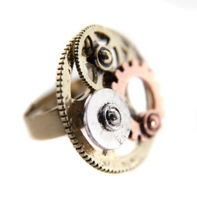 Steampunk Jewelry – Necklace, Earrings, Cuffs, Hair Clips Multi-Tone Gear Steampunk Ring by Spirit Halloween $9.99 AT vintagedancer.com