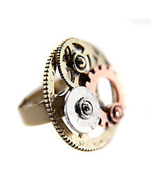 Multi-Tone Gear Steampunk Ring