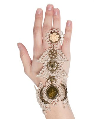 Steampunk Jewelry – Necklace, Earrings, Cuffs, Hair Clips Lace and Metal Gear Steampunk Ring Bracelet by Spirit Halloween $14.99 AT vintagedancer.com