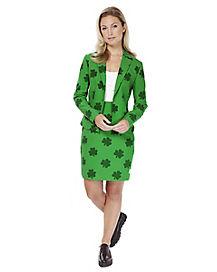 Adult Shamrock St. Patricks Day Skirt Suit