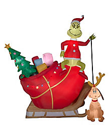 12 Ft Light Up Grinch and Max Inflatable Decorations - The Grinch Who Stole Christmas