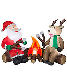 4.3 Ft Light Up Camping Santa and Reindeer Inflatable - Decorations