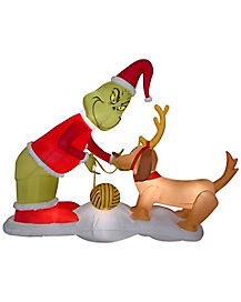 5 Ft Light Up The Grinch And Max Inflatable Decorations - The Grinch Who Stole Christmas