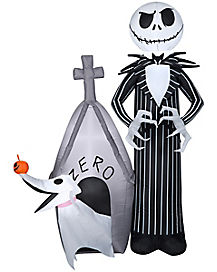5 Ft Light Up Jack Skellington and Zero Inflatable - The Nightmare Before Christmas