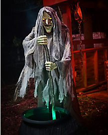 5 Ft Cauldron Witch Animatronics – Decorations