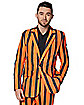 Adult Orange and Black Light Up Striped Suit