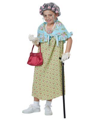 60s 70s Kids Costumes & Clothing Girls & Boys Kids Old Lady Costume Kit by Spirit Halloween $19.99 AT vintagedancer.com